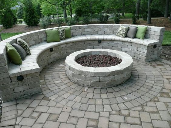 Stone_Bench_With_Matching_Fire_Pit - Dream Yards: Incredible Custom Backyard Fire Pits And BBQ's Stone